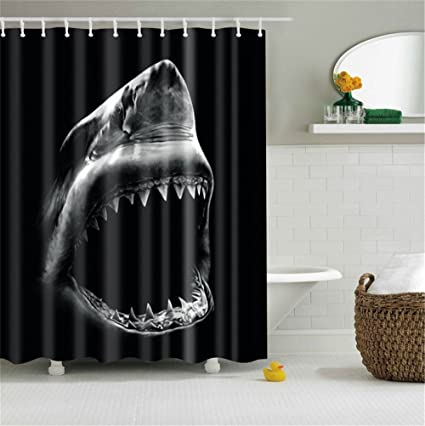 Cool Shark With Sharp Teeth Black Base Bathroom Shower Curtain Decor Art Prints Waterproof Polyester