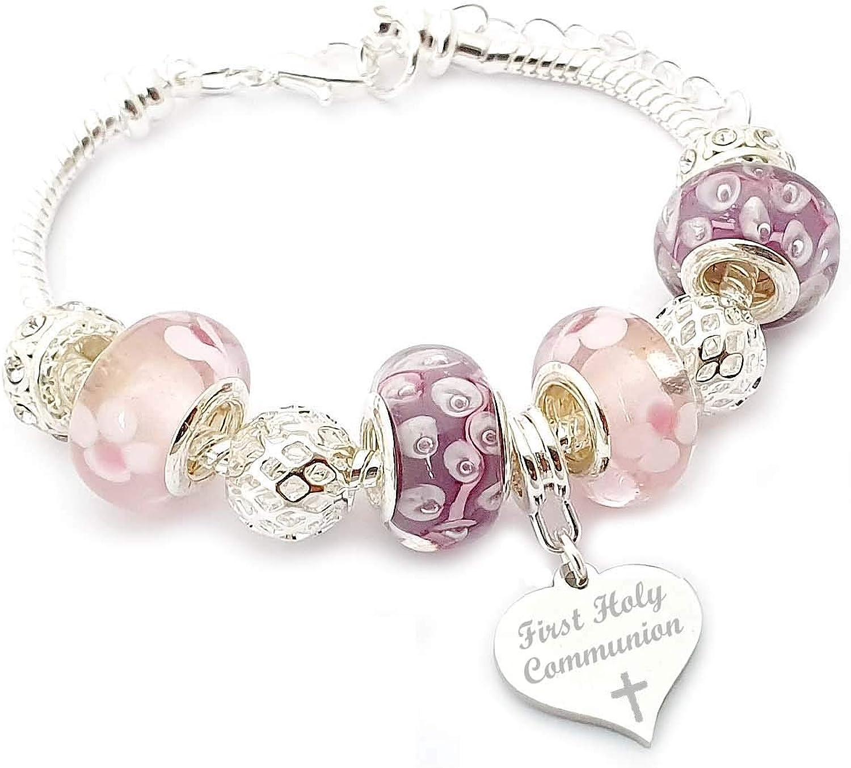 SanaBelle - Pulsera para niña con grabado personalizable para primera comunión, color rosa y lila, en caja de regalo