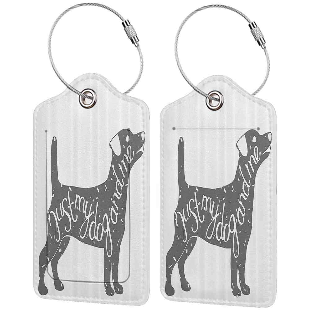 Modern luggage tag Dog Lover Decor Collection Just Me and My Dog Message Quote Vintage Typographic Pet Label Art Suitable for children and adults Gray White W2.7 x L4.6