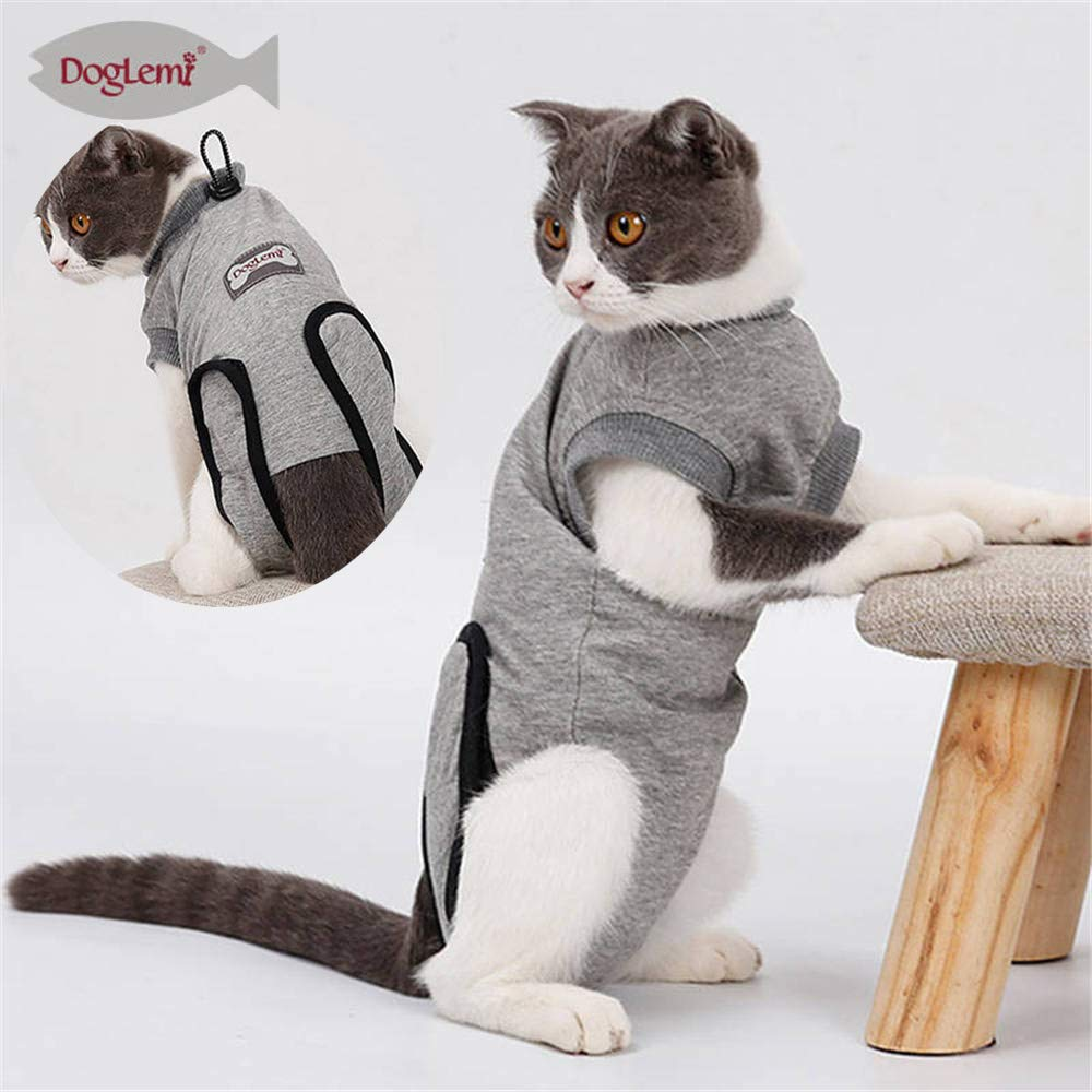 Doglemi Cat Recovery Suit for Abdominal Wounds and Skin Diseases,Professional After Surgey Wear Soft Comfort Alternative E-Collar for Small Medium Cats Kitten Wounds Skin Diseases by Doglemi