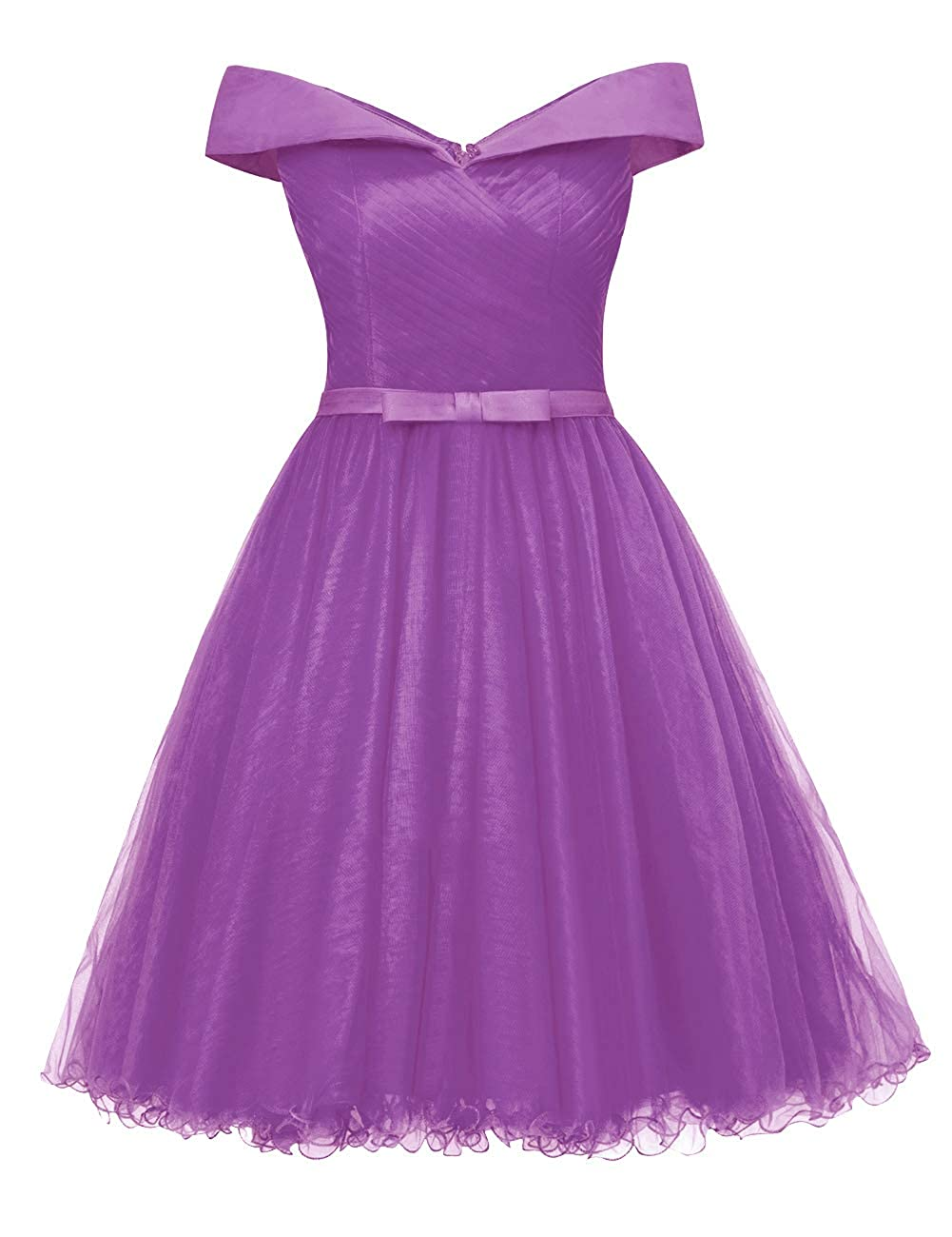 Purple Uther Off The Shoulder Prom Homecoming Dresses Knee Length Cocktail Dress Tulle Gown