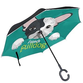 ALAZA francés Bulldog Breed diseño doble capa resistente al viento Reverse paraguas