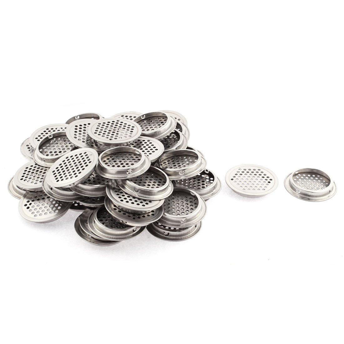 uxcell 65mm Flat Stainless Steel Cabinet Mesh Hole Air Vent Louver 50pcs