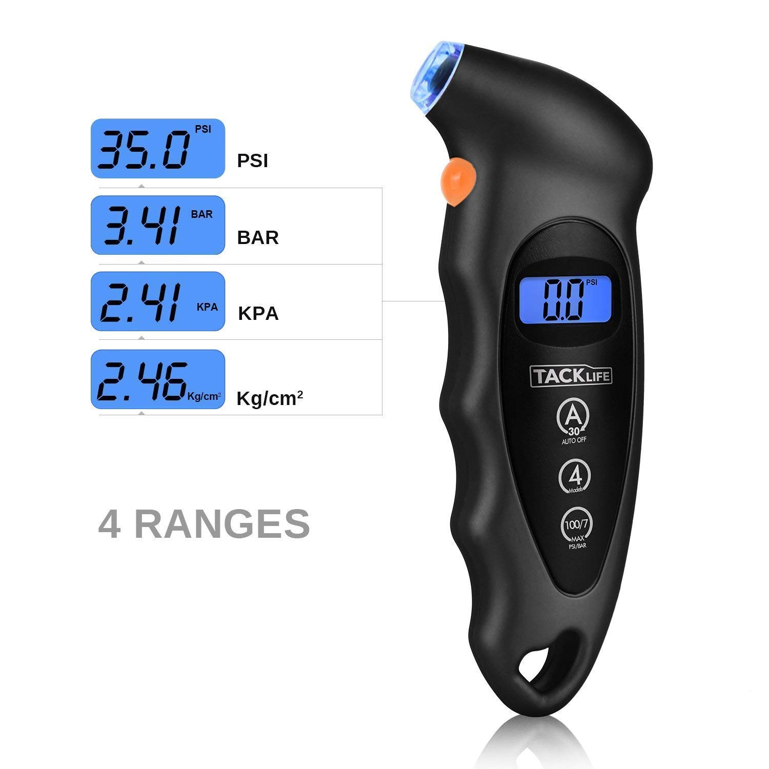 TG01 Tacklife Tire Pressure Gauge 150 PSI 4 Settings with Backlight LCD Display and Non-Slip Grip Digital Tire Gauge for Cars and Motorcycles