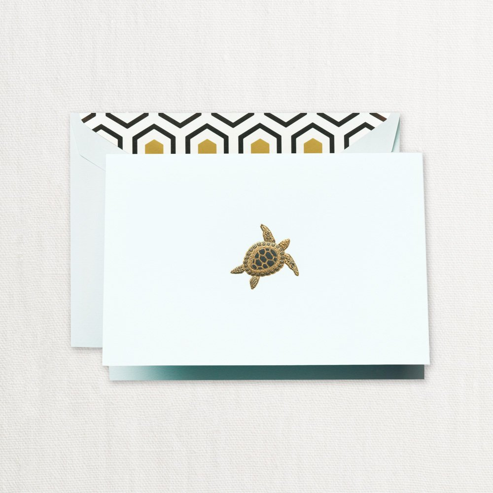 Crane & Co. Engraved Sea Turtle Note Cards- Pack of 20 Cards