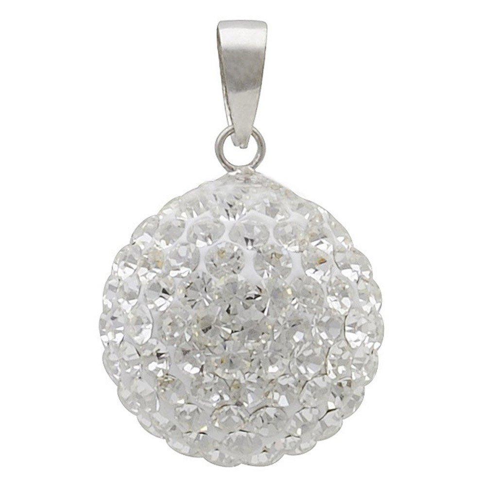Pendentif en forme de boule avec cristal swarovski blanc 14 mm-argent 925 argent pendentif