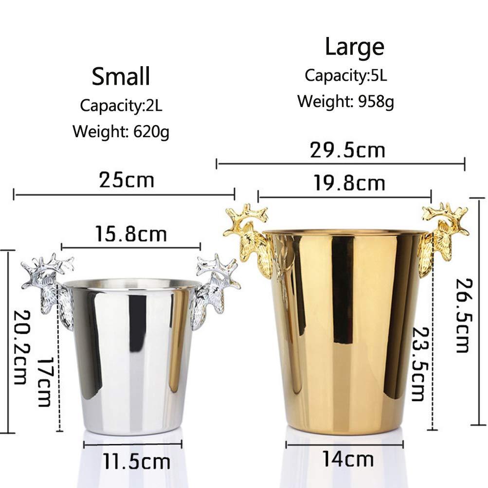 Secchielli per ghiaccio in acciaio inox refrigeratore per vino birra//refrigeratore per champagne Ice Barrel forma a corno unico elegante e pratico,Silver,2l