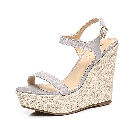 5486b665a6a Amazon.com  Dream Chaser Women Gray Platform Heels Open-toe Woven ...