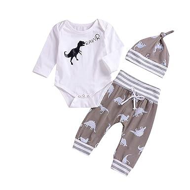 fcf0e121d Treafor Baby Boy Long Sleeve Romper Dinosaur Bodysuit + Pants Clothing Set  (0-6M