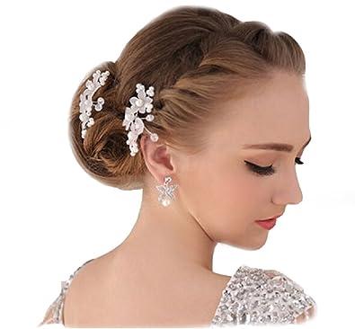 2 Strass Perlen Haarnadeln Braut Kommunion Hochzeit Blumen