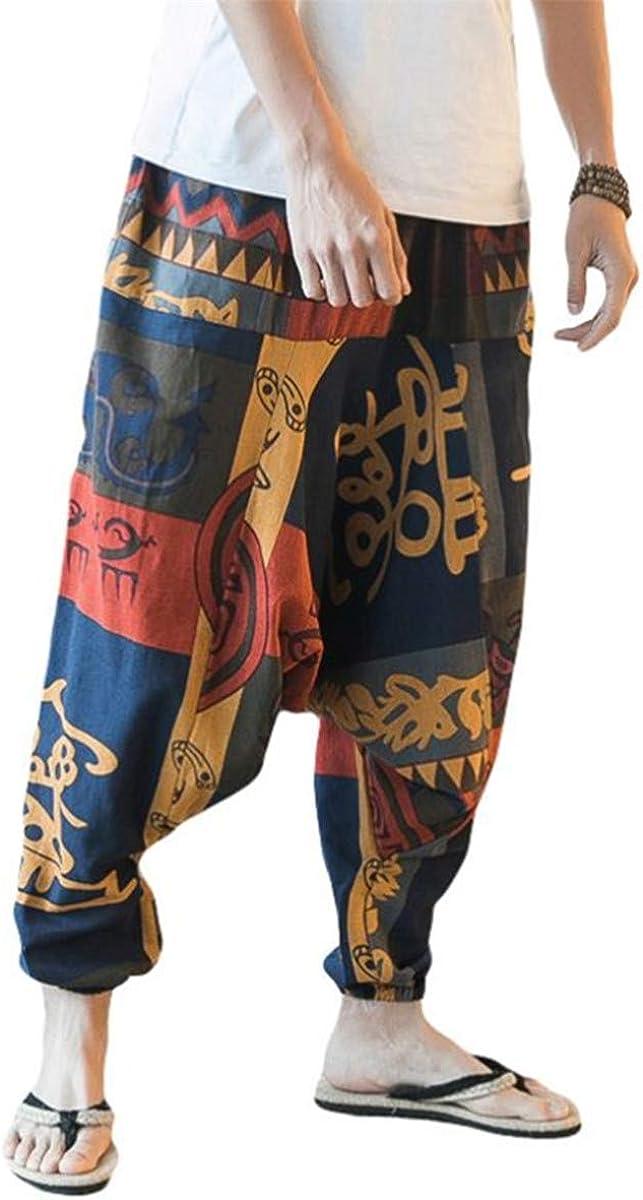 AITFINEISM Men Women Print Baggy Hippie Boho Gypsy Aladdin Harem Pants