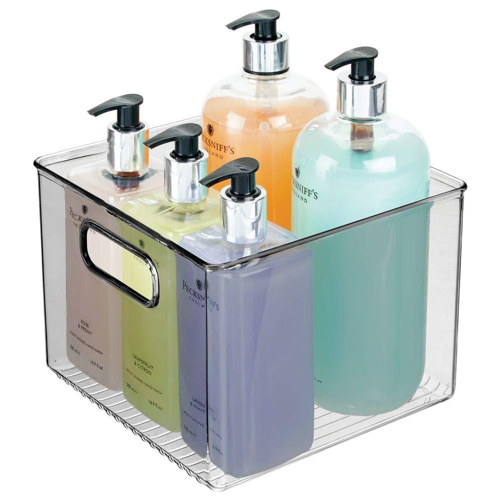 ideal zur Kosmetikaufbewahrung im Bad durchsichtig//grau mDesign 2er-Set Ablagebox mit integrierten Griffen transparente Aufbewahrungsbox mit ansprechendem Design