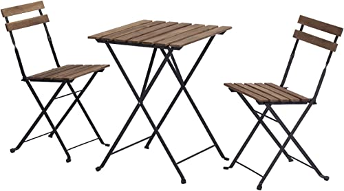 HOMPUS 3-Piece Patio Bistro Set Folding Table and Chair