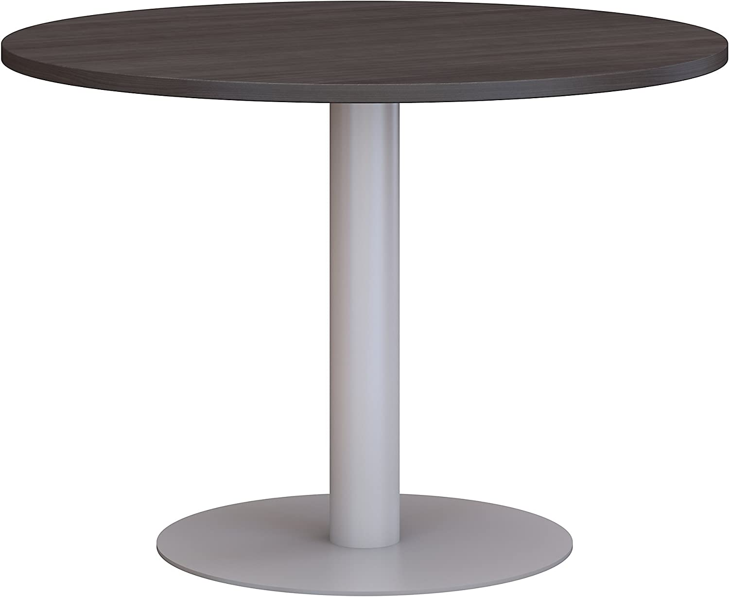 Bush Business Furniture 42W Round Conference Table with Metal Disc Base in Storm Gray