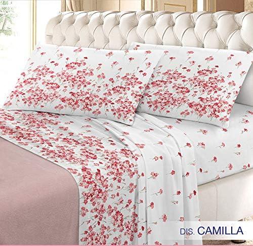 biancolore – Franela Italiana Camilla Completo sábanas, 100% algodón, Turquesa, Matrimonio Maxi, 4 Set: Amazon.es: Hogar