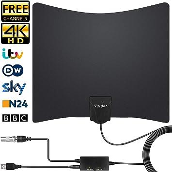 TS-ant Última Versión Antena de TV, Blanco Antena de TV Interior, Señal Amplificador de Cable