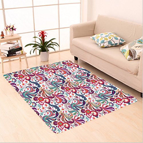 Hand Tufted Bay Leaf (Nalahome Custom carpet sley Hand Drawn Style Colorful Flowers and Leaves in Vintage Colors Decorative Print Teal Orange area rugs for Living Dining Room Bedroom Hallway Office Carpet (2' X 3'))