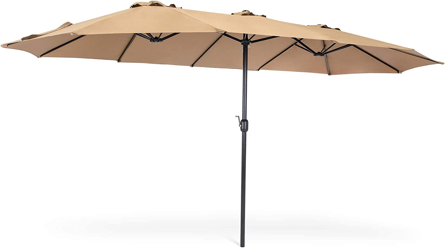Best Choice Products 15x9ft Large Double-Sided Rectangular Outdoor Aluminum Twin Patio Market Umbrella w/Crank and Wind Vents - Beige