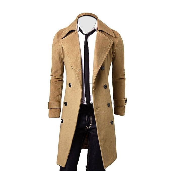OverDose Hombres de invierno Slim elegante Trench Coat Double Breasted Chaqueta larga Parka (S,