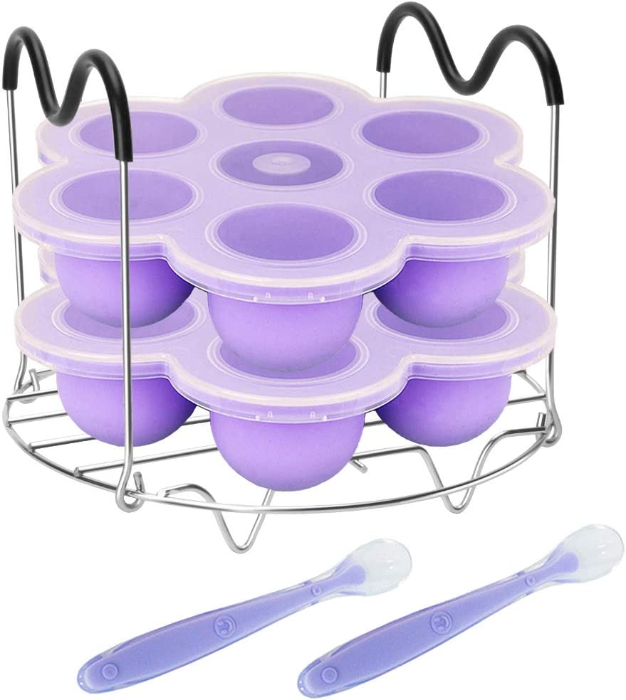 Pressure Cooker Accessories with Silicone Egg Bites Molds and Steamer Rack Trivet with Heat Resistant Handles Compatible with Instant Pot Accessories 6 Qt 8 Quart, 3 Pcs with 2 Bonus Spoons (Purple)