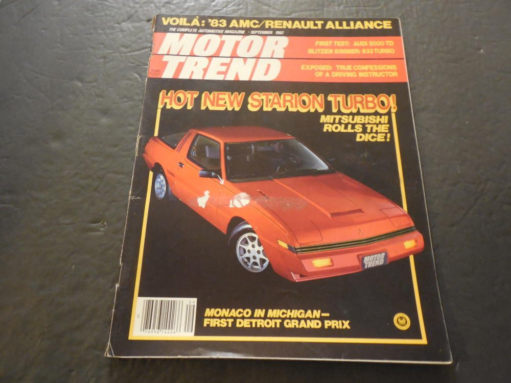 Motor Trend Sep 1982, Starion Turbo, - Mitsubishi at Amazons Entertainment Collectibles Store