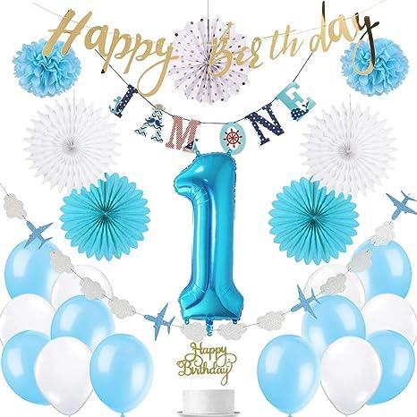 De Haute Qualite SUNBEAUTY Decoration Anniversaire Garcon 1 An Ballon Kit Bleu Blanc Avion  Nuage Guirlande I AM One