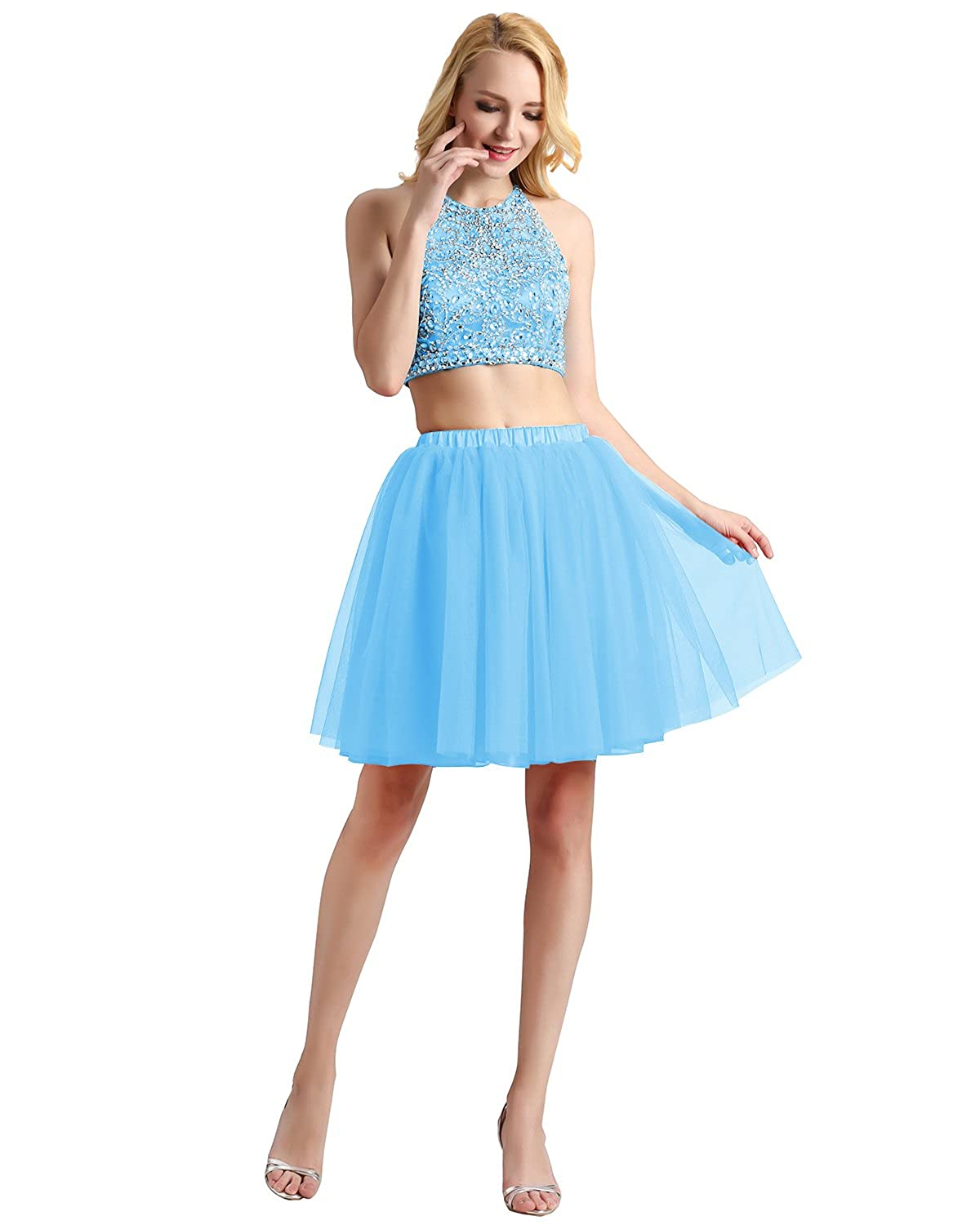 Bridesmay Women Short Tulle Formal Skirt Prom Party Evening Gown ...