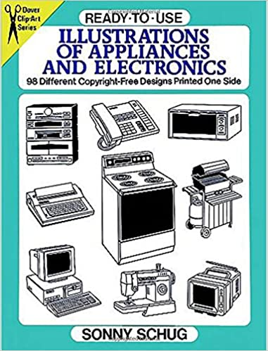 98 Different Copyright-Free Designs Printed One Side Ready-to-Use Illustrations of Appliances and Electronics