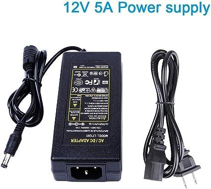 AC 100-240V To DC 12V 5A 60W Power Supply Adapter Transformer LED Strip Light