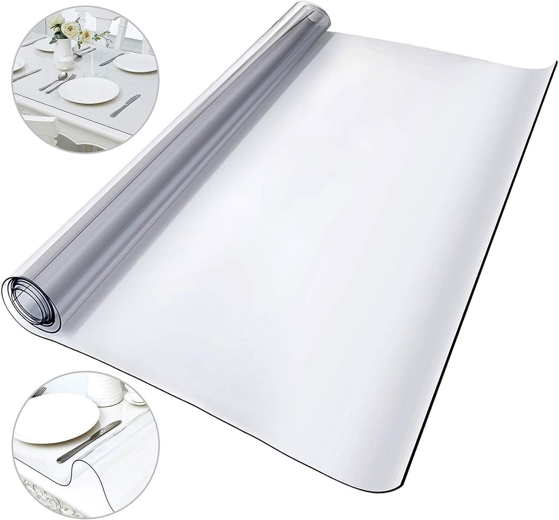 Husuper Mantel Transparente de PVC 1170 x 1830 x 1,5 MM Mantel de Plástico Transparente Plástico Grueso Impermeable para Mesa Cocina Mantel Transparente Rectangular Resistente al Agua Antimanchas