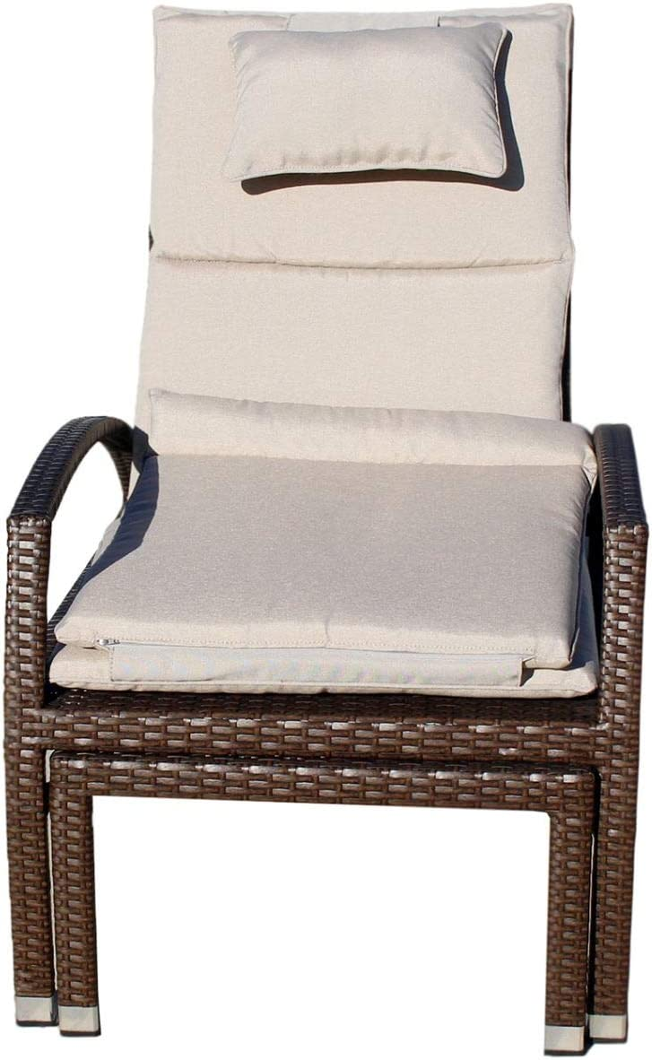 Courtyard Casual Brown Beach Front Deck Chair to Chaise Lounge Combo