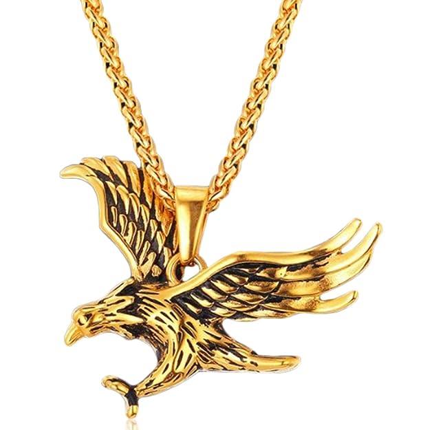 Collar de Águila para Hombre Chapado en 18kt Oro con 50-55 cm Longitud Ajustablehttps://amzn.to/2Mdf9i6