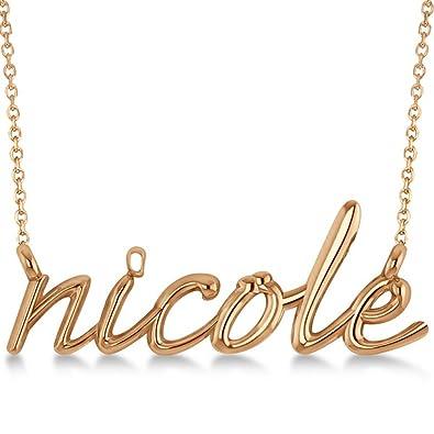 Amazon.com  Ladies Personalized Lower Case Script Font Name Plate Pendant  Necklace 14k Rose Gold  Jewelry f3289ea96