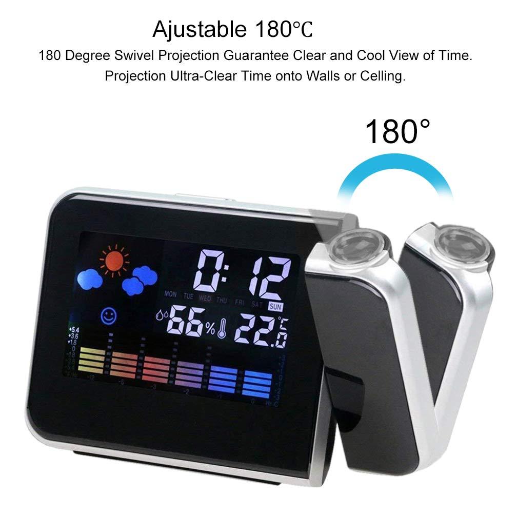 Hangrui Reloj Despertador, Despertador proyector Despertador Digital con Temperatura Interior/LED Alarma/Puerto de Carga USB/Negro: Amazon.es: Hogar
