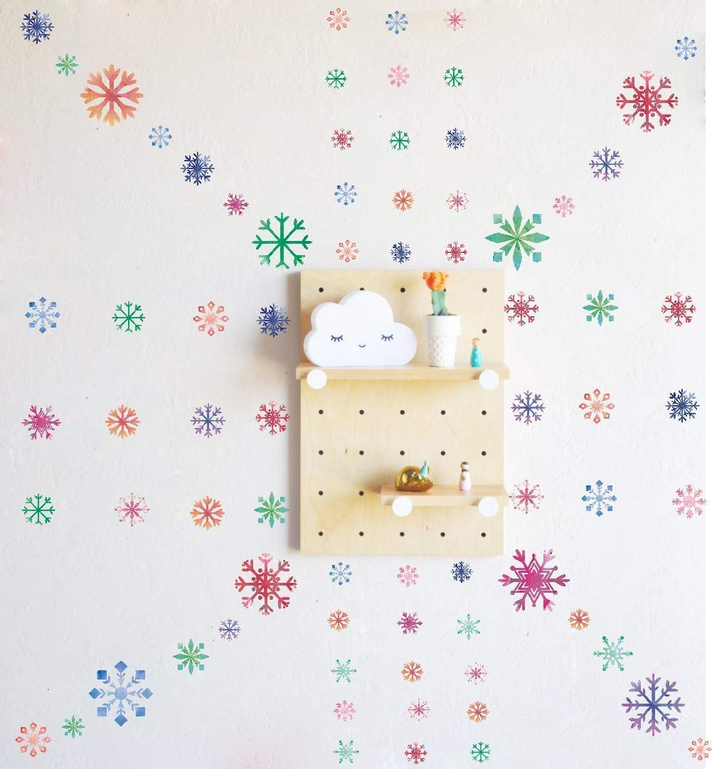 Christmas Multicolor Snowflake Window Clings Decal Home Decor 103 pcs Winter Snowflake Colorful Stickers for Glass or Window Decoration