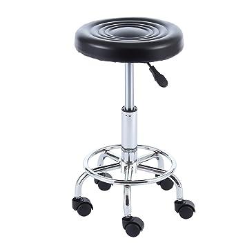 RFIVER Taburete Giratorio con Ruedas de en Piel Sintética de Altura Ajustable para Cocina Oficina Negro SC1002B: Amazon.es: Juguetes y juegos