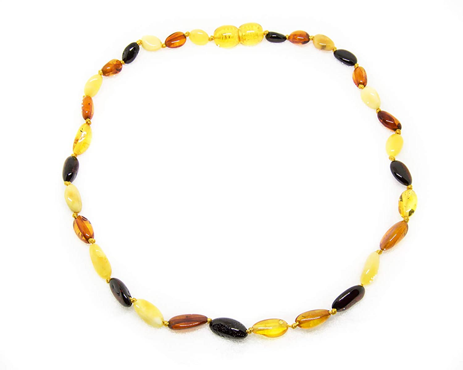 12-12.5 Inches size The Art of Cure Original Baltic Amber Necklace- Polished Handmade Multi-Color Beans for boy or girl