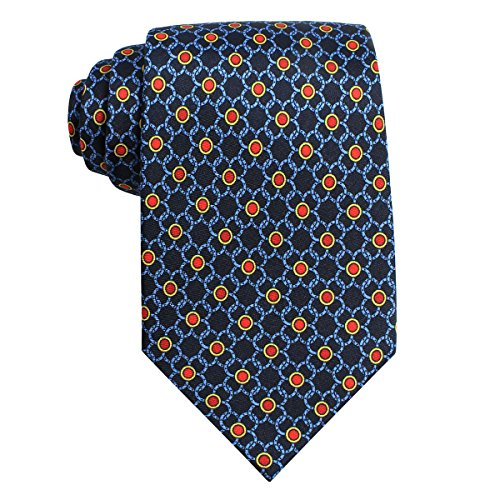 The Men's Store by Bloomingdale's Men's Triangle Flower Dot Silk Necktie, Navy - Mall Stores Triangle