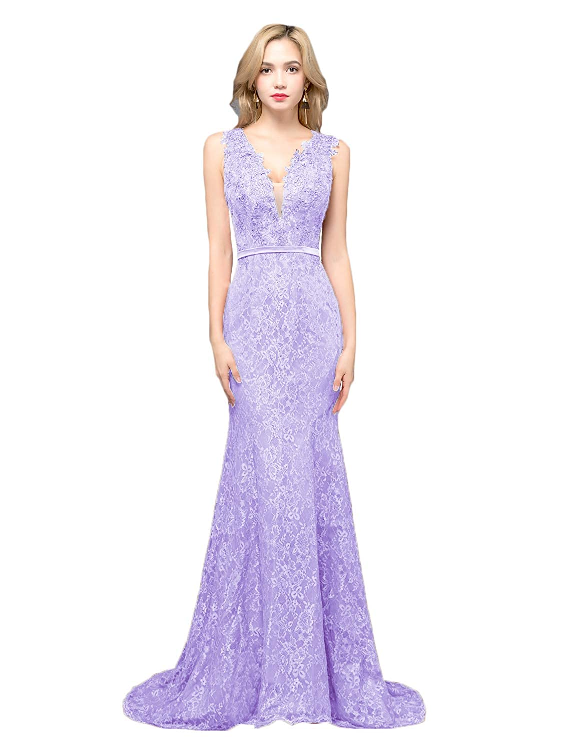 Lavender CIRCLEWLD Sheer Plunging V Neck Lace Prom Dresses Mermaid Evening Gown Womens P197