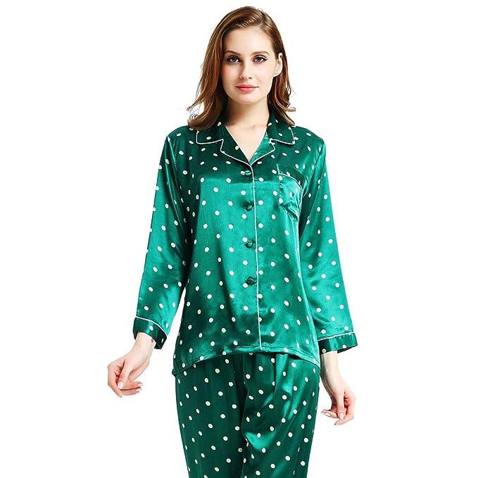 lonxu Juego de pijama de satén de seda para Hombre pijamas ropa S ~ 3 x l