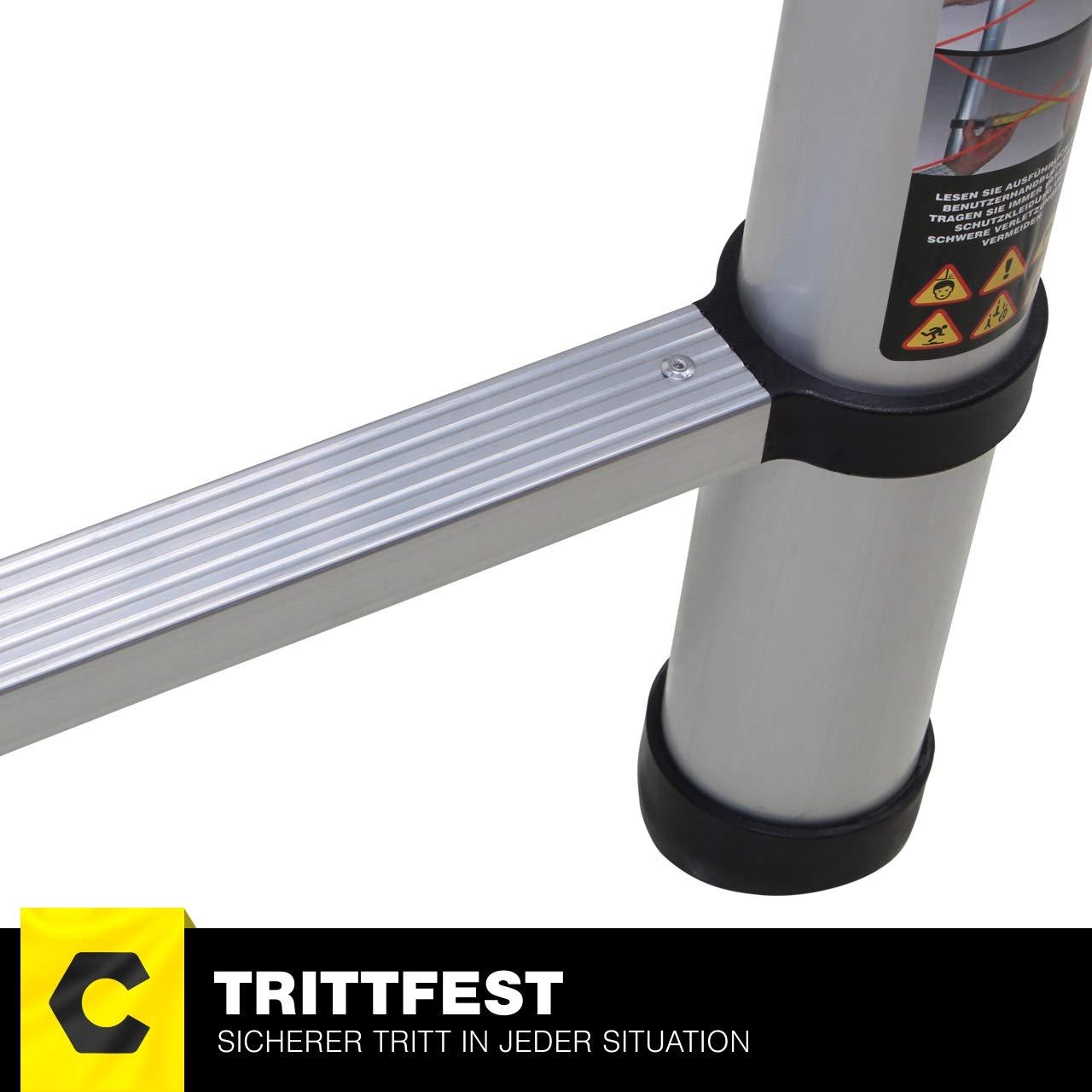 2 x 1.9 Meter Anlegeleiter Craftfull Alu Teleskopleiter Klappleiter CF-102A Total 3.8 m Leiter Black Edition 3,2//3,8//4,4//5// 5,6 M Meter -Tragetasche Trittleiter