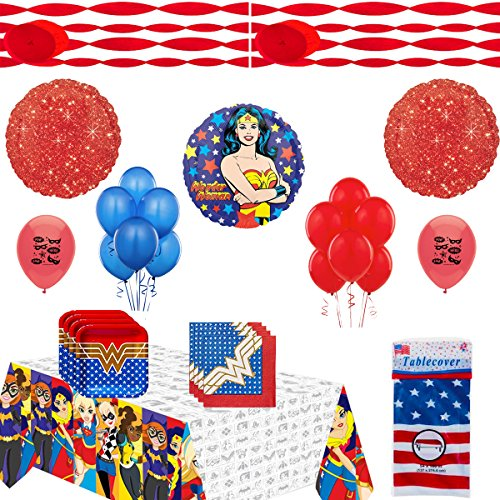 Flag Square Battle (Combined Brands Wonder Woman Party Supplies and Balloon Decoration Bundle)