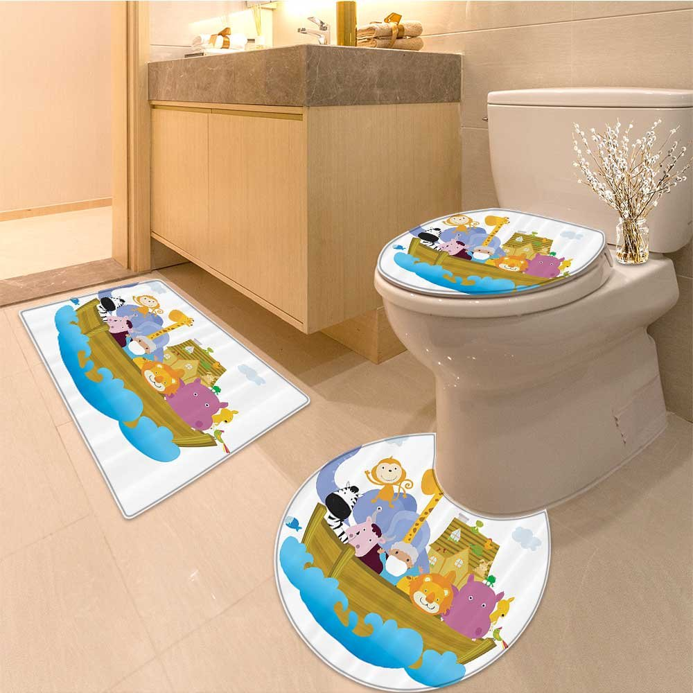 3 Piece Bathroom Rug Set Old Christian Story with Set of Animals in the Boat Journey Faith Cartoon Print Extr Extra Soft Memory Foam Combo - Rug, Contour Mat and Lid Cover