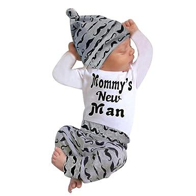 c8a229c98 Amazon.com  FEITONG Newborn Infant Baby Boy s Print Romper Tops+Long ...