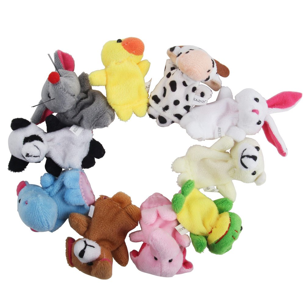 Nakimo 16pcs Story Time Finger Puppets-10 Animals 6 People Family Members Educational Puppets Qiyun
