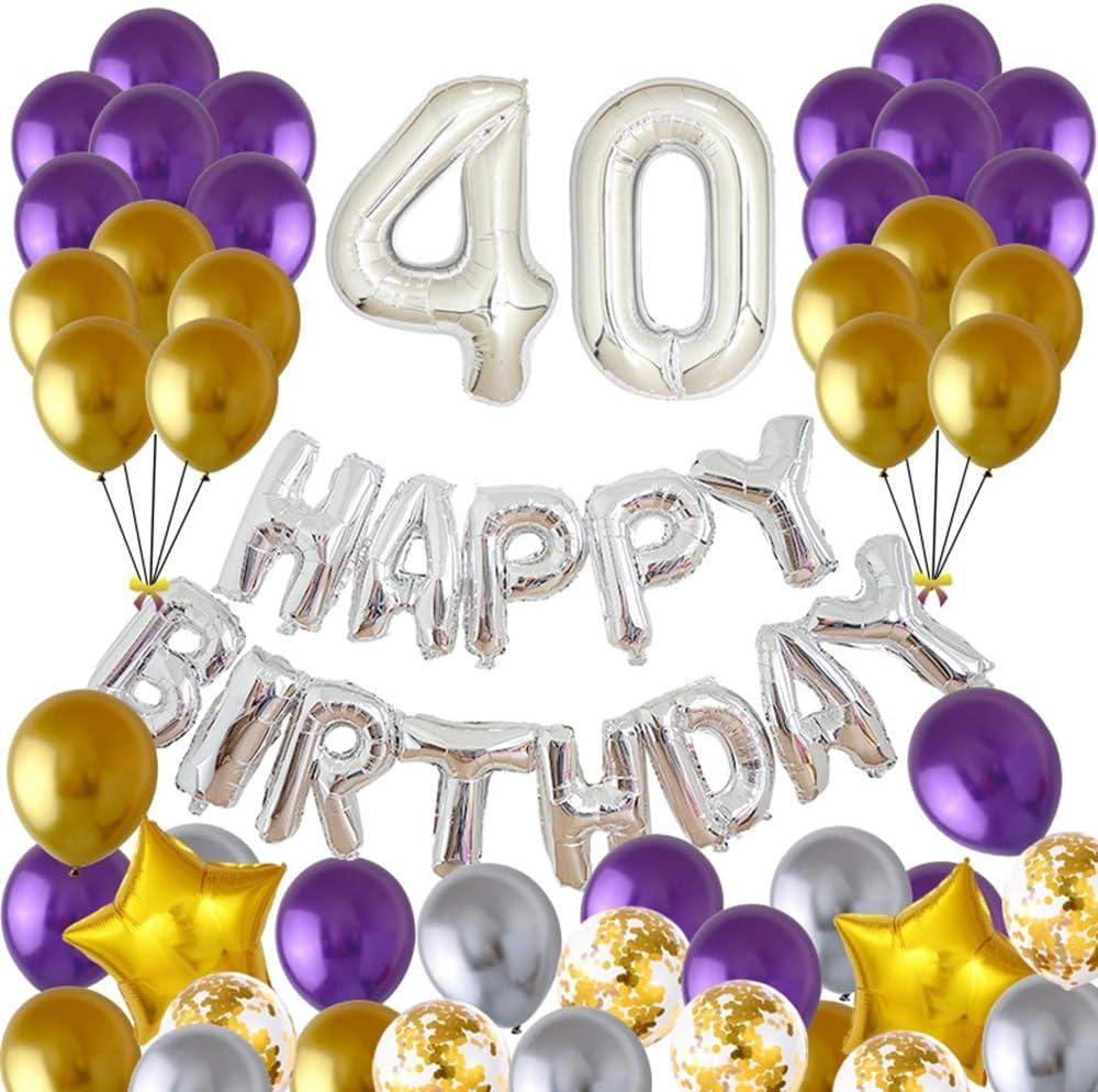 40 Anniversaire Décoration, Argent Pourpre Or 40