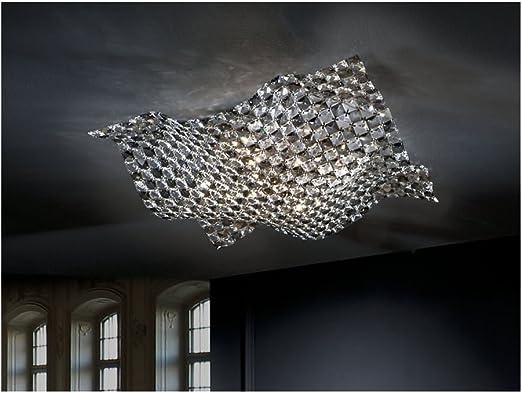 Schuller Spain 160674i4l Modern Art Deco Satin Nickel Ceiling Lamp 5 Light Dining Room Living Room Led Large Crystal Mesh Shade Ideas4lighting Amazon De Beleuchtung