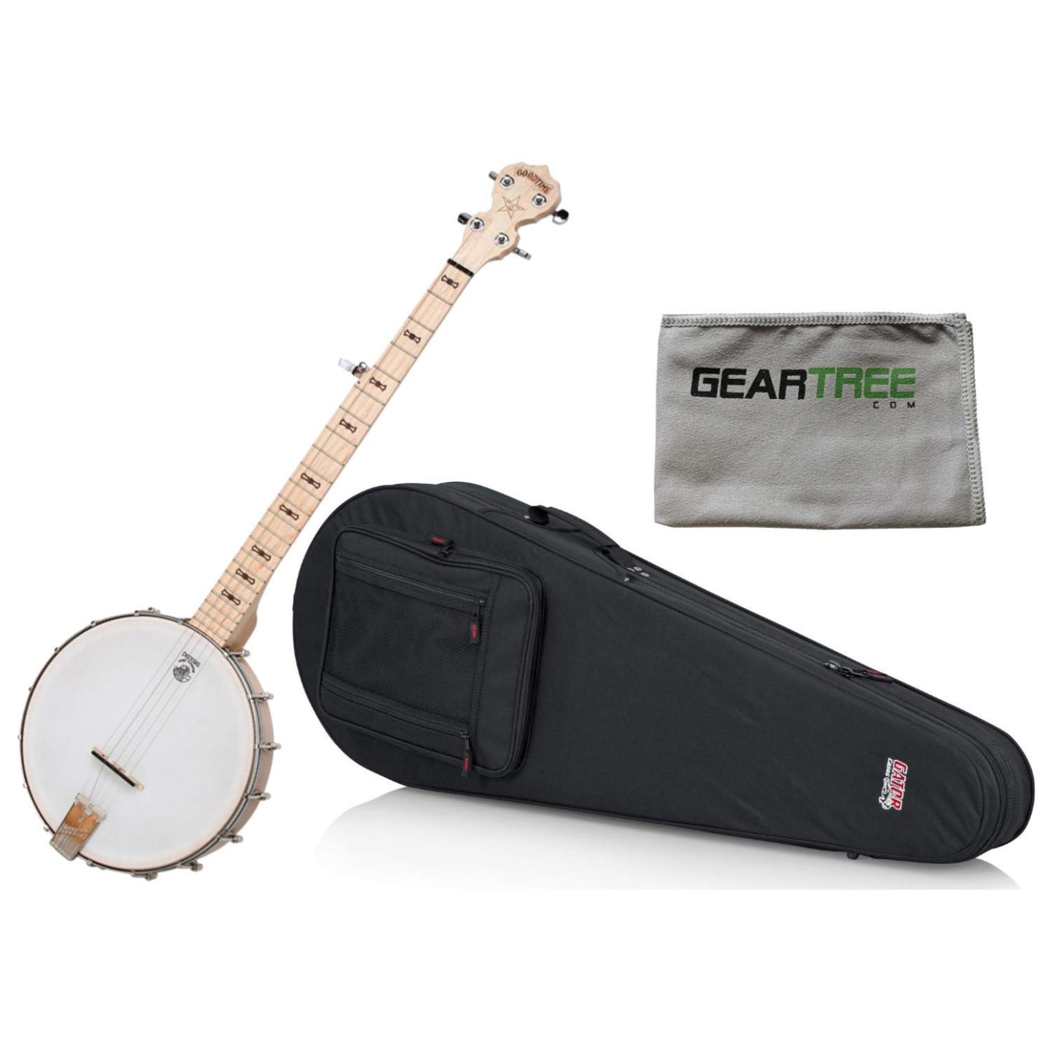 Deering Goodtime Banjo w//Lightweight Fit-All Banjo Case and Geartree Cloth