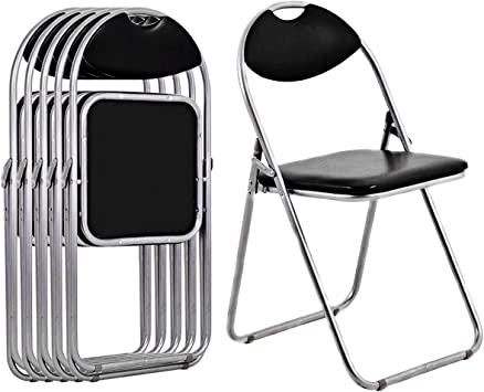 Giantex 6 PCS Folding Chair with Carrying Handle PU Leather and Metal Frame Cushioned Foldable Conference Chairs Set for Home Office Waiting Room ...