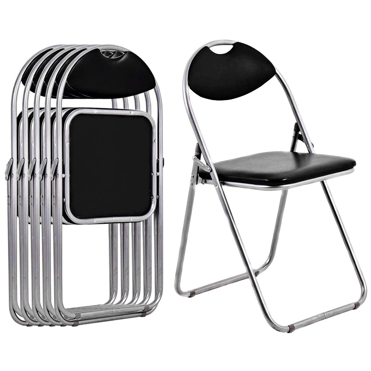Giantex 6 PCS Folding Chair with Carrying Handle PU Leather and Metal Frame Cushioned Foldable Conference Chairs Set for Home Office Waiting Room Guest Reception Party, Black by Giantex